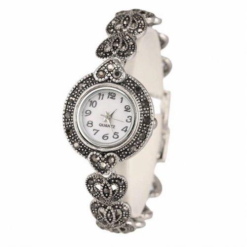 Ceas argint femei cu marcasite Inimioare Forever
