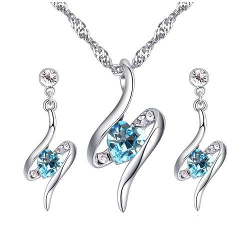 Set argint cu elemente swarovski, Infinity, Cristale Albastre