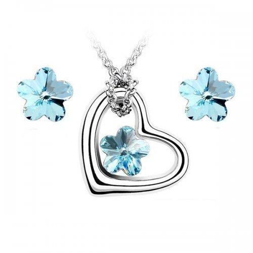 Set argint Elemente Swarovski Floare Albastra