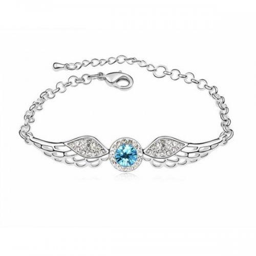 Bratara argint Aripi de Inger cu Cristale SW albastru Aquamarine