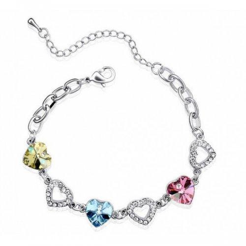 Bratara argint femei Inima Love is Everything cu Cristale SW Tricolor Rosu, Galben, Albastru