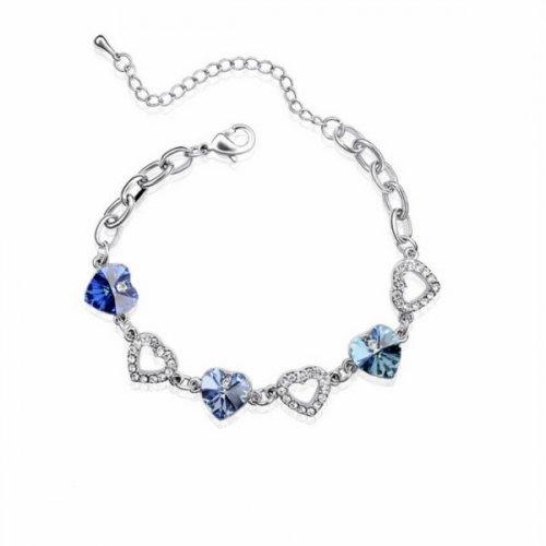 Bratara argint femei Inima Love is Everything cu Cristale SW albastru