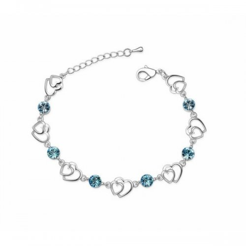 Bratara argint femei Inima dubla cu Cristale SW albastru aquamarine