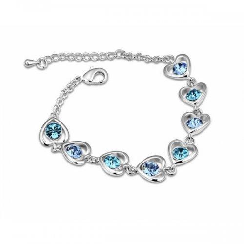 Bratara argint femei cu Inimioare albastre si Cristale