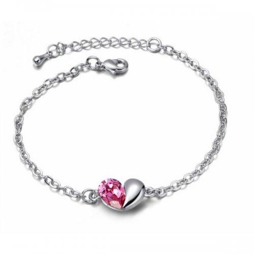 Bratara argint femei cu model Inima Unconditional Love cu Cristale roz Pink