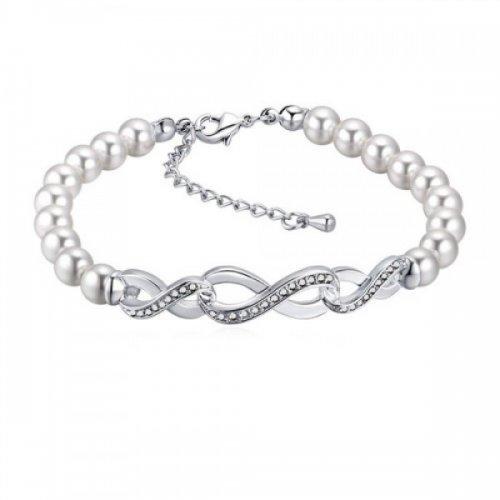 Bratara argint femei cu perle si Elemente Swarovski model Infinity