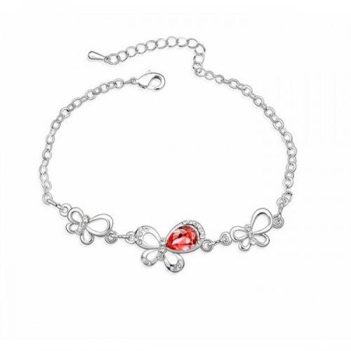 Bratara argint femei fluture cu Cristale rosu Red Passion