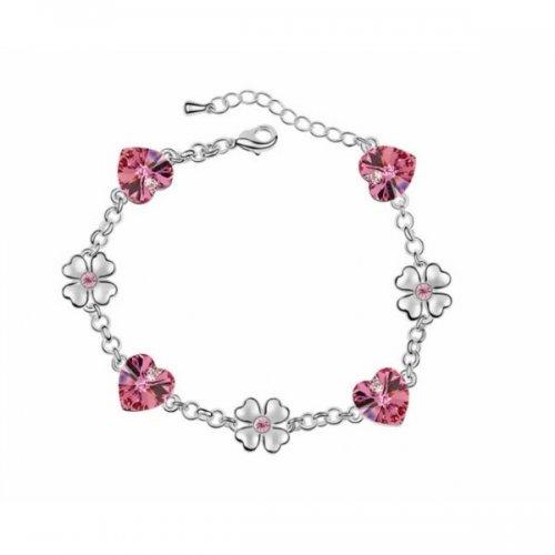 Bratara argint femei inima cu Cristale  roz Pink Butterfly