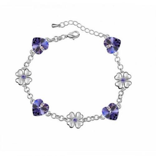 Bratara argint femei inima cu Cristale mov Purple Butterfly