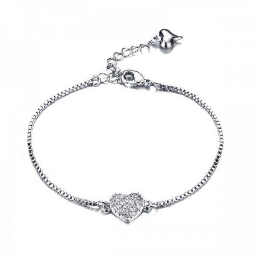 Bratara argint femei model Inima cu Cristale SW Alb
