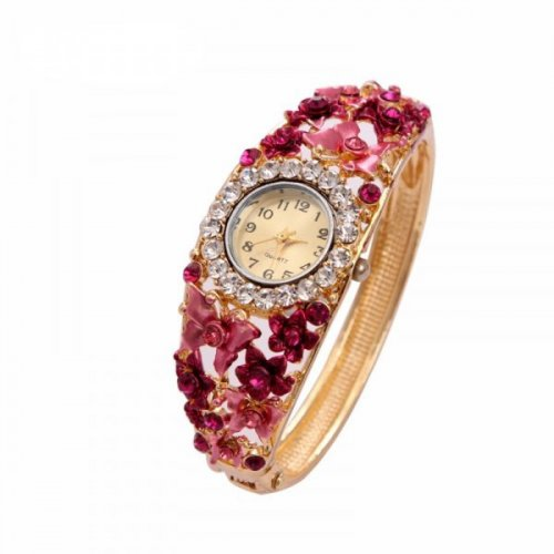 Ceas femei bratara  Pink Flower Blossom placat cu aur 18K