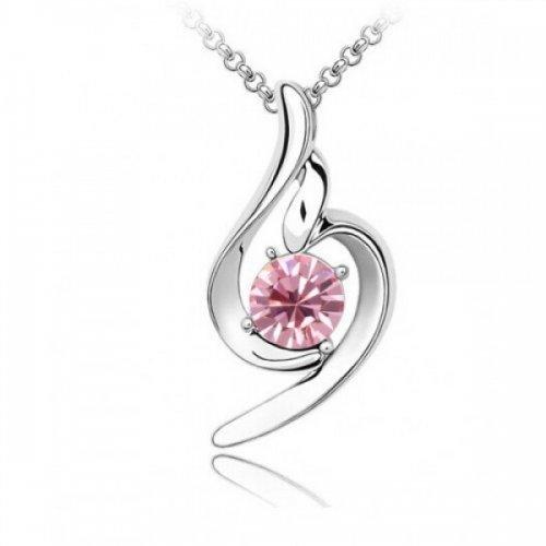 Lant argint femei cu pandantiv Pink Silver Fairy