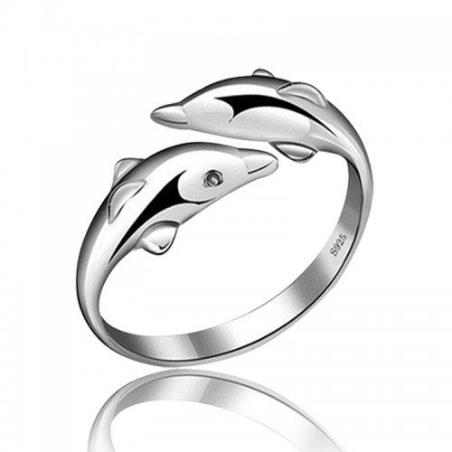 Inel  argint  doi delfini