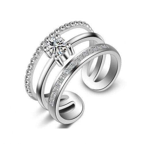 Inel  argint cu elemente swarovski triple lines