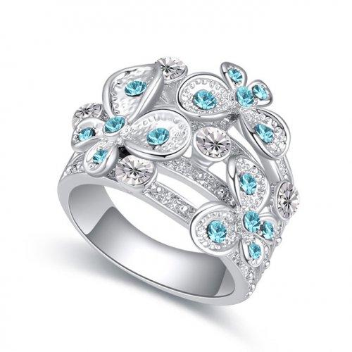 Inel  argint cu elemente swarovski  butterfly blue sky