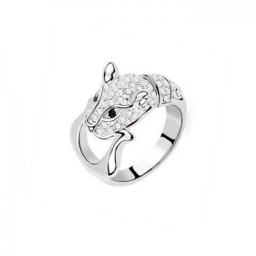 Inel  argint cu elemente swarovski pantera