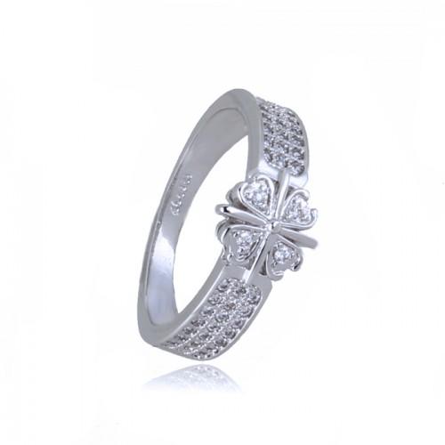 Inel  argint cu elemente swarovski  trifoi white crystal