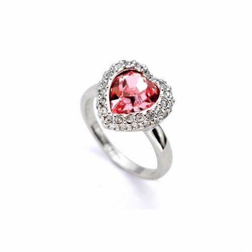 Inel  argint cu elemente swarovski big red heart