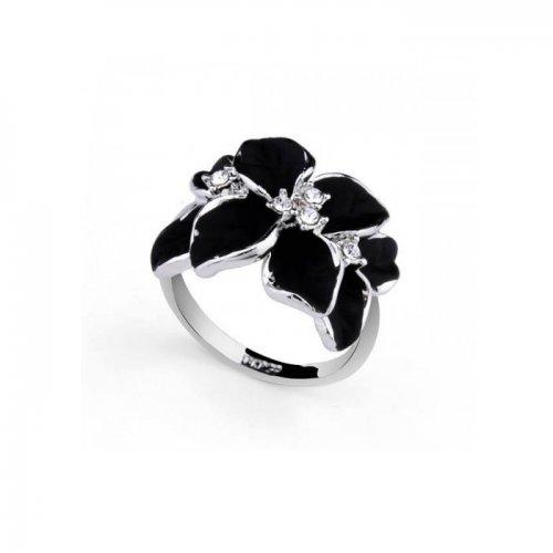 Inel  argint cu elemente swarovski black flower 4 petale