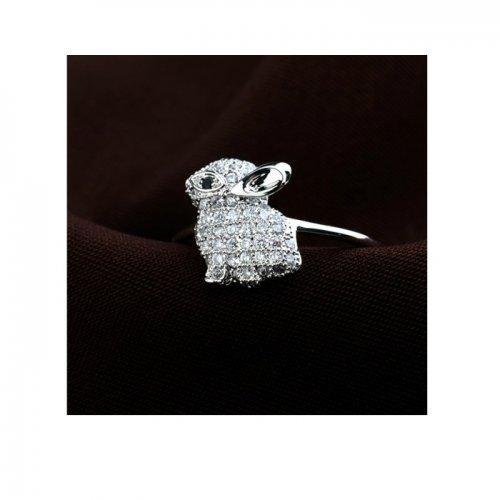 Inel  argint cu elemente swarovski iepuras white