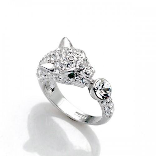Inel  argint cu elemente swarovski panther white