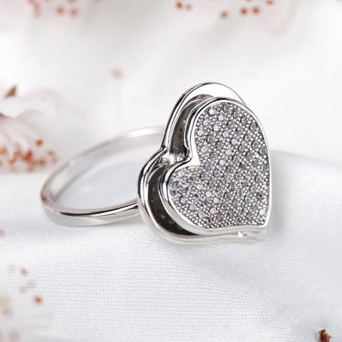 Inel  argint cu elemente swarovski white cristal inima