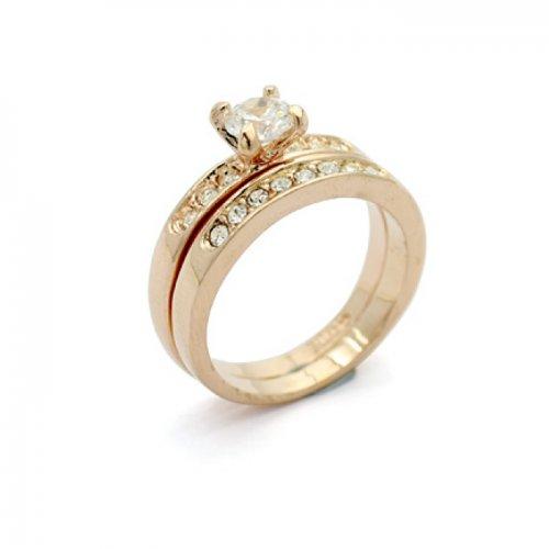 Inel  placat cu aur 18k  cu elemente swarovsk solitere dublu