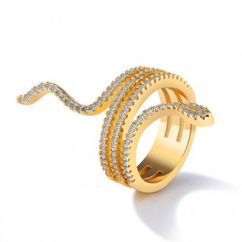 Inel placat cu aur 18k model sarpe cu cristale