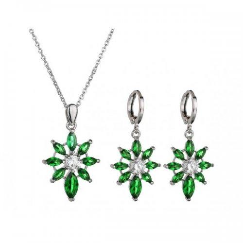 Set argint cu Green Force cu elemente swarovski Emerald verde