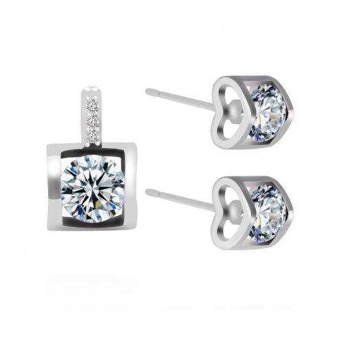 Set argint cu elemente swarovski duble heart crystal