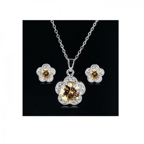 Set argint cu elemente swarovski gold flower