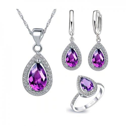 Set argint femei drop water cubic purple