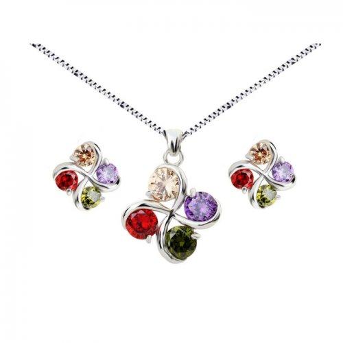 Set argint lant, pandantiv si cercei cu elemente swarovski 4 drops multicolor