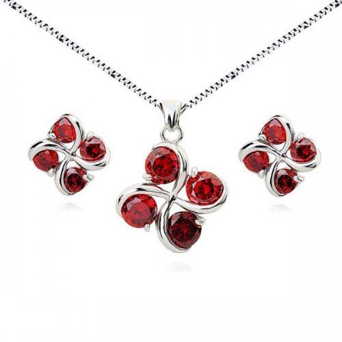 Set argint lant, pandantiv si cercei cu elemente swarovski 4 drops rosu
