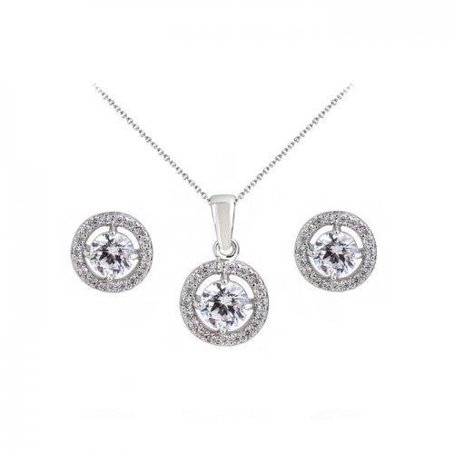 Set argint lant, pandantiv si cercei cu elemente swarovski drops cricle white
