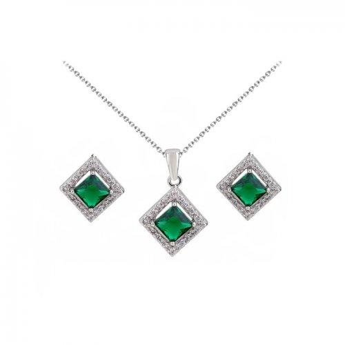 Set argint lant, pandantiv si cercei cu elemente swarovski smarald drops romb
