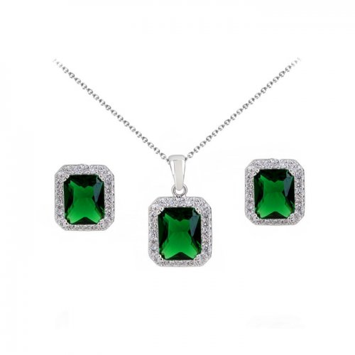 Set argint lant, pandantiv si cercei cu elemente swarovski smarald square