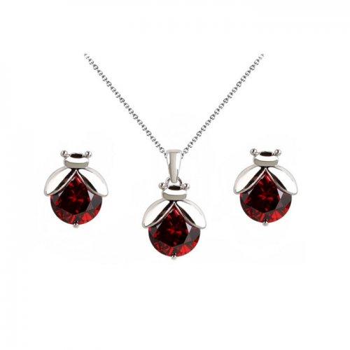 Set argint lant, pandantiv, cercei si bratara cu elemente swarovski red  drops buburuza