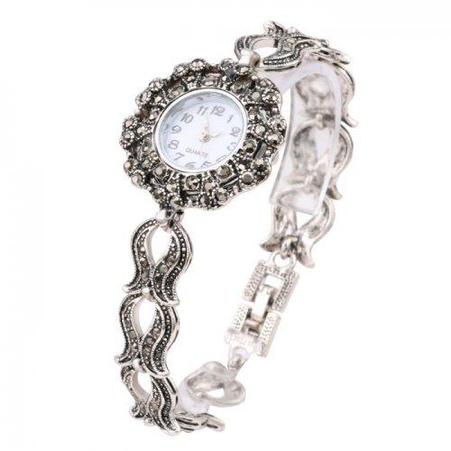 Ceas argint femei cu marcasite Baroque