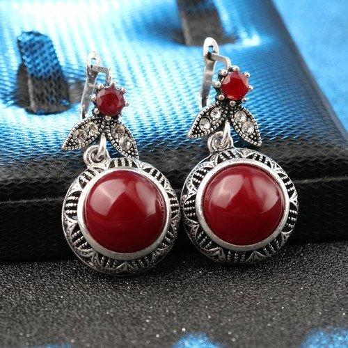Cercei argint femei cu coral Redstone