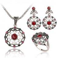 Set argint cu rubin si zirconu Indie