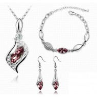 Set argint femei tear drop elemente swarovski