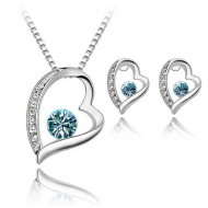Set Argint cu Elemente Swarovski Inima Blue