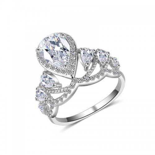 Inel argint cu aur alb Queen Crystalis