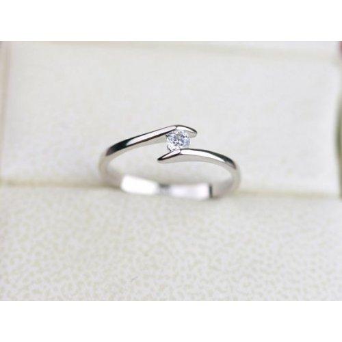 Inel logodna argint cu aur alb LoveStory