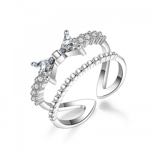 Inel argint cu aur alb White Fashion cu Elemente Swarovski