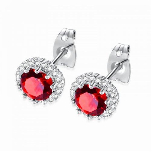 Cercei argint cu cristale Swarovski Red Dots